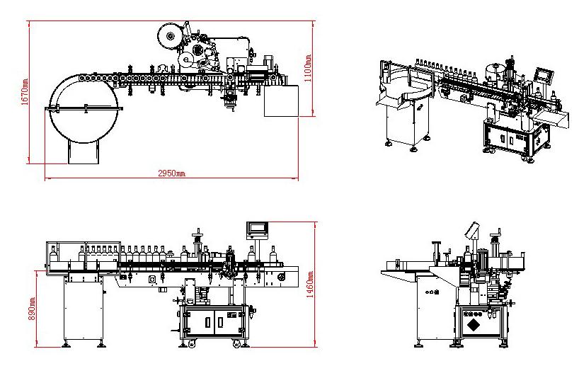 Automatische verticale rode wijn transparante etiketten etiketteringsmachine Details